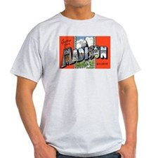 Madison Wisconsin Greetings (Front) Ash Grey T-Shi