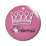 Pink Princess Crown Girly Ornament (Round)