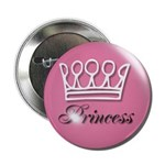 Pink Princess Crown Girly Button