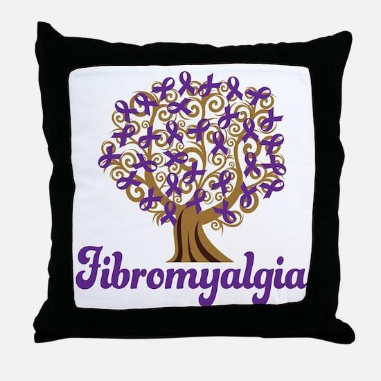 Fibromyalgia Purple Ribbon Tree Throw Pillow