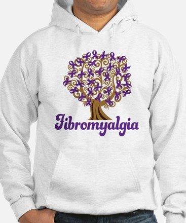 Fibromyalgia Purple Ribbon Tree Hoodie
