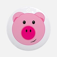 Cute Pink Pig Ornament (Round)