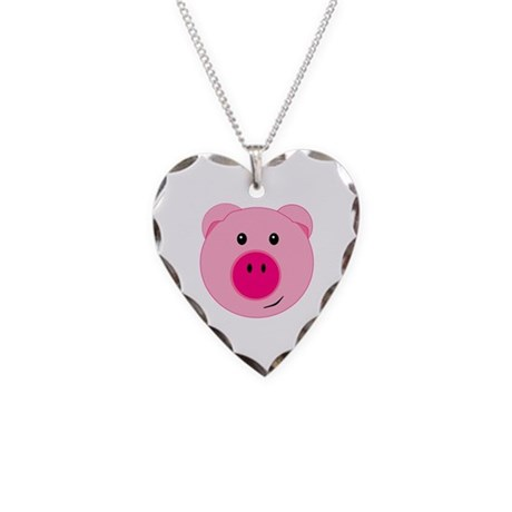 Cute Pink Pig Necklace Heart Charm