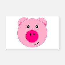 Cute Pink Pig Rectangle Car Magnet