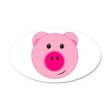 Cute Pink Pig Oval Car Magnet