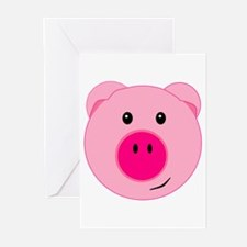 Cute Pink Pig Greeting Cards (Pk of 10)