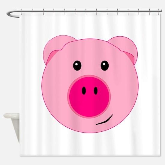 Cute Pink Pig Shower Curtain