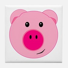 Cute Pink Pig Tile Coaster
