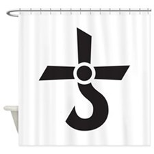 CROSS OF KRONOS (MARS CROSS) Black Shower Curtain