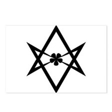 Unicursal hexagram (Black) Postcards (Package of 8