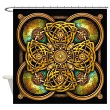 Yellow Celtic Tapestry Shower Curtain