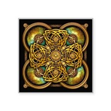 """Yellow Celtic Tapestry Square Sticker 3"""" x 3"""""""