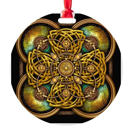 Yellow Celtic Tapestry Round Ornament
