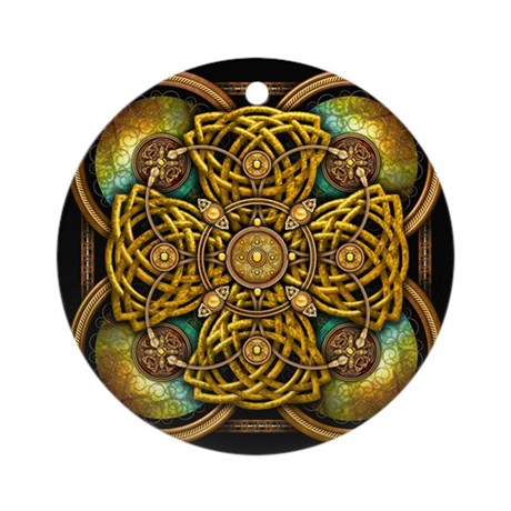 Yellow Celtic Tapestry Ornament (Round)