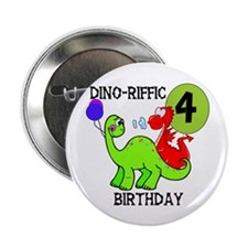 Dinosaur 4th Birthday Button