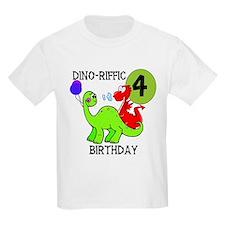 Dinosaur 4th Birthday Kids T-Shirt