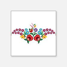 """Kalocsai floral pattern Square Sticker 3"""" x 3"""""""