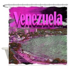 Venezuela art illustration Shower Curtain