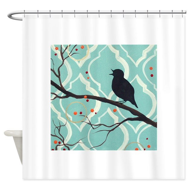 Aqua Colored Song Shower Curtain By HilariaGallery