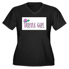 turtlegirl.png Women's Plus Size V-Neck Dark T-Shi