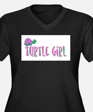 turtlegirl.png Women's Plus Size V-Neck Dark T-Shi