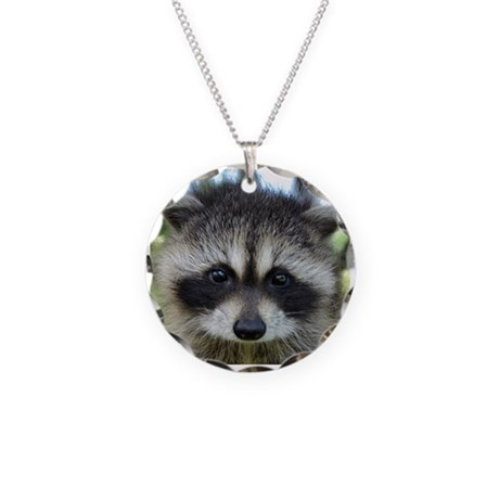 Raccoon Necklace Circle Charm