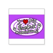 Hypno I Love My Bluetick Coonhound Sticker Purp St