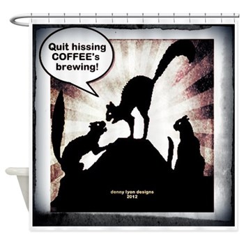 Funny Coffee Cats Shower Curtain