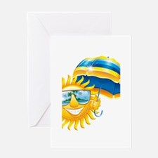 Sun with umbrella Greeting Card