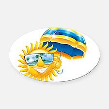 Sun with umbrella Oval Car Magnet