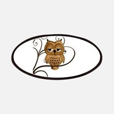 Brown Swirly Tree Owl Patches