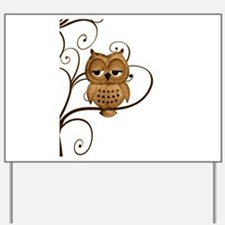 Brown Swirly Tree Owl Yard Sign