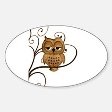 Brown Swirly Tree Owl Decal
