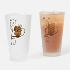 Brown Swirly Tree Owl Drinking Glass