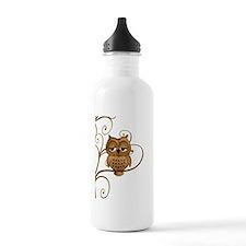 Brown Swirly Tree Owl Water Bottle