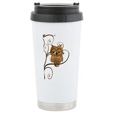 Brown Swirly Tree Owl Travel Mug