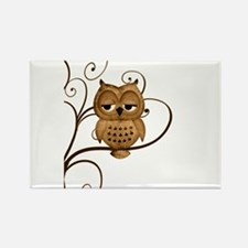 Brown Swirly Tree Owl Rectangle Magnet