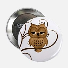 "Brown Swirly Tree Owl 2.25"" Button"