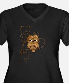Brown Swirly Tree Owl Women's Plus Size V-Neck Dar