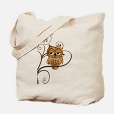 Brown Swirly Tree Owl Tote Bag