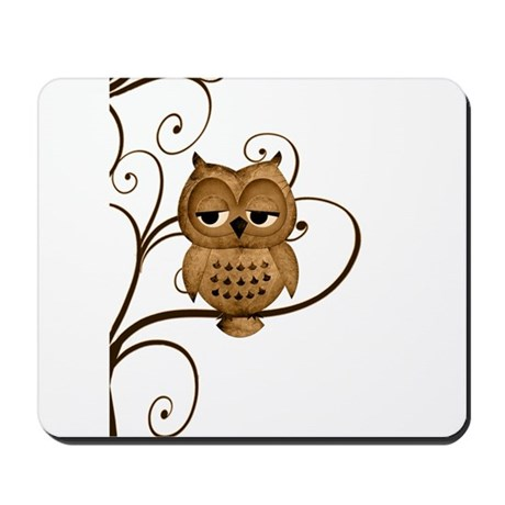 Brown Swirly Tree Owl Mousepad