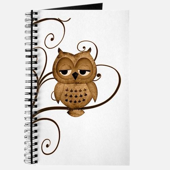 Brown Swirly Tree Owl Journal