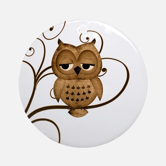 Brown Swirly Tree Owl Ornament (Round)