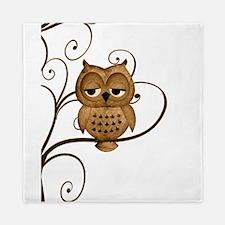 Brown Swirly Tree Owl Queen Duvet