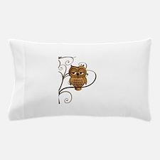 Brown Swirly Tree Owl Pillow Case