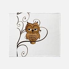 Brown Swirly Tree Owl Throw Blanket