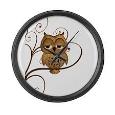 Brown Swirly Tree Owl Large Wall Clock