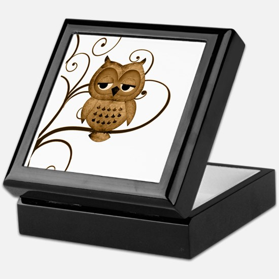 Brown Swirly Tree Owl Keepsake Box