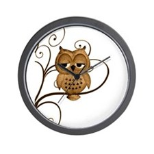 Brown Swirly Tree Owl Wall Clock