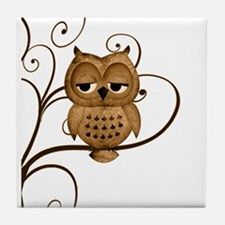 Brown Swirly Tree Owl Tile Coaster